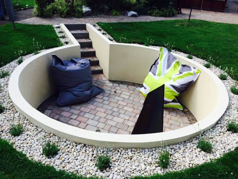 project for patios in bedworth - image shows a circular seating area we custom built