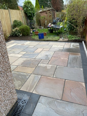 New patio in bedworth with sealed edges and drainage channel