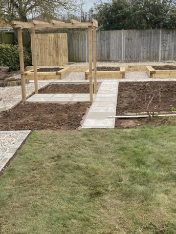 Garden landscaping project including pergola and turf