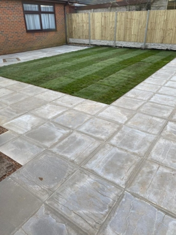 Newly built patio in coventry with turf and fencing