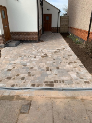 Block paved driveway in tamworth with new drainage and dropped kerb